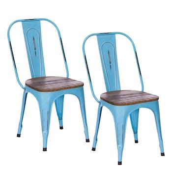 Chaise industrielle métal bleu bois recyclé LEEDS (lot de 2)