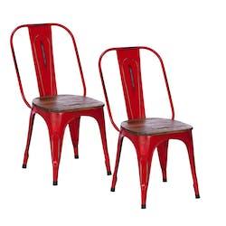 Chaise industrielle métal rouge bois recyclé LEEDS (lot de 2)