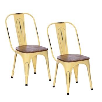 Chaise industrielle métal jaune bois recyclé LEEDS (lot de 2)
