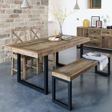 Table à manger extensible bois recyclé 140-180 BRISBANE