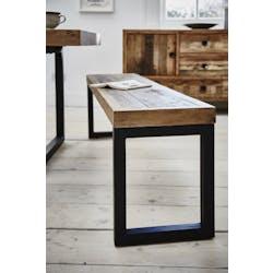 Banc Bois recyclé pieds métal carrés 140x35x48cm BRISBANE