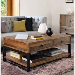 Table basse bois recyclé double plateau 2 tiroirs BRISBANE