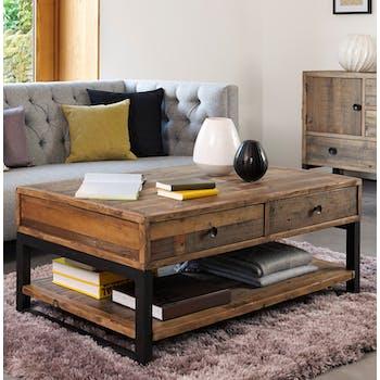 Table basse bois recyclé double plateau BRISBANE