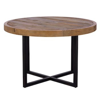 Table à manger ronde bois recyclé D120 BRISBANE