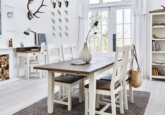 Table Repas extensible 180/220 bois recyclé BRISTOL