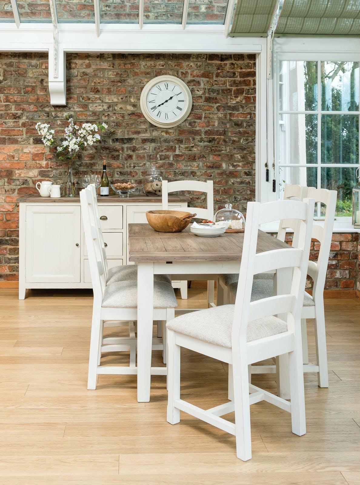 Table Repas extensible 120/160 bois recyclé BRISTOL
