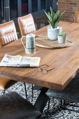 Table salle à manger bois métal pieds en X 220 cm OKA
