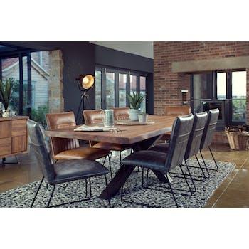 Table salle à manger bois métal pied croisé 240 cm OKA