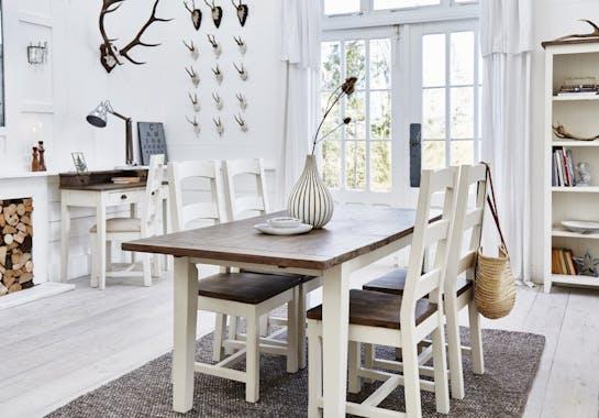 Table de chevet blanche bois recyclé BRISTOL