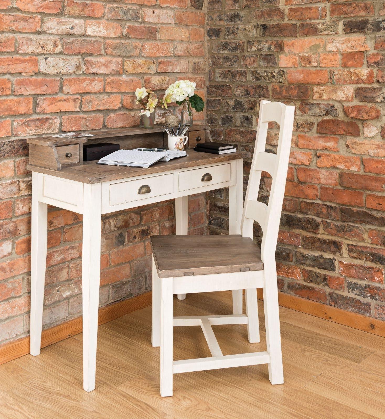 Meuble secrétaire blanc bois recyclé BRISTOL