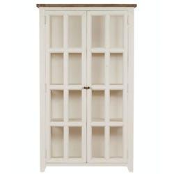 Bibliothèque vitrine blanche bois recyclé BRISTOL
