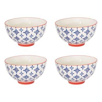 Coffret de 4 coupelles rondes 11cm céramique à motifs coloris bleu et orange USHUAIA