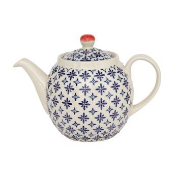 Théière 1L céramique blanc à motifs coloris bleu et orange USHUAIA