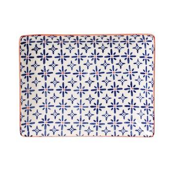 Plateau 21x17cm céramique blanc à motifs coloris bleu et orange USHUAIA