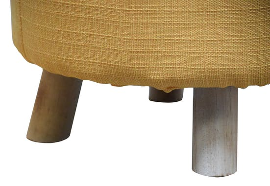 Pouf rond tissu couleur safran pieds bois D.40cm H.33cm
