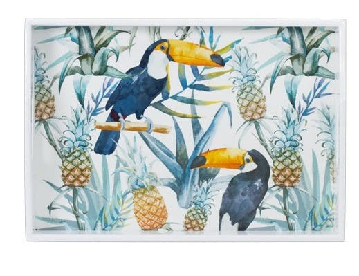 Plateau rectangle en bois décor Toucan Ananas 43x30cm