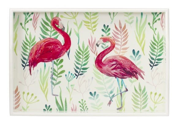 Plateau rectangle en bois décor Flamant Rose 46x33cm
