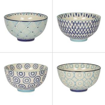 Coffret de 4 coupelles décor géométrique céramique tons bleus D11xH6,5cm