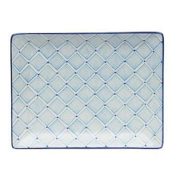 Plateau décor géométrique façon losanges céramique tons bleus clairs 21x17cm