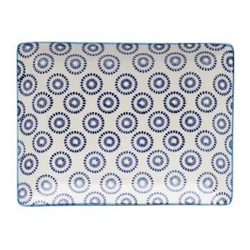Plateau décor géométrique façon cercles céramique tons bleus foncés 21x17cm