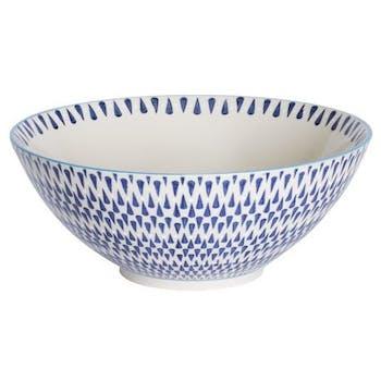 Saladier décor géométrique façon zigzag céramique tons bleus foncés D23xH12cm