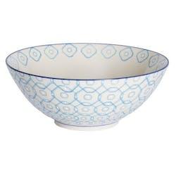 Saladier décor géométrique façon carrés arrondis céramique tons bleus clairs D23xH12cm