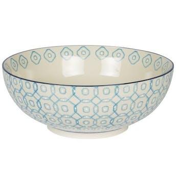 Saladier décor géométrique façon carrés arrondis céramique tons bleus clairs D26xH14cm