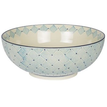 Saladier décor géométrique façon losanges céramique tons bleus clairs D26xH14cm