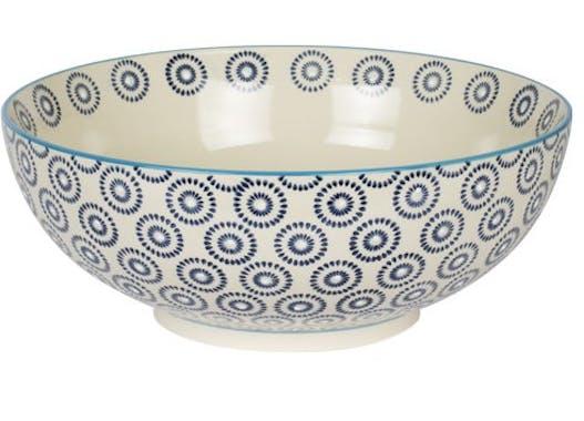 Saladier décor géométrique façon cercles céramique tons bleus foncés D26xH14cm