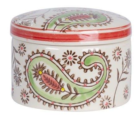 Pot avec couvercle Hippy céramique décor fleurs colorées D10xH9cm - Modèle B