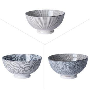 Lot de 3 coupelles décorées porcelaine tons gris D11,5xH8,5cm
