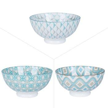 Lot de 3 bols décor graphique porcelaine tons turquoises et gris D15xH10,5cm