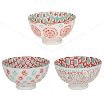 Lot de 3 coupelles décor graphique porcelaine tons orangés et turquoises D11,5xH8,5cm