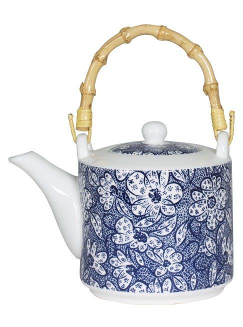 Théière décor floral japonisant porcelaine tons bleus et anse bambou D9xH9,5cm