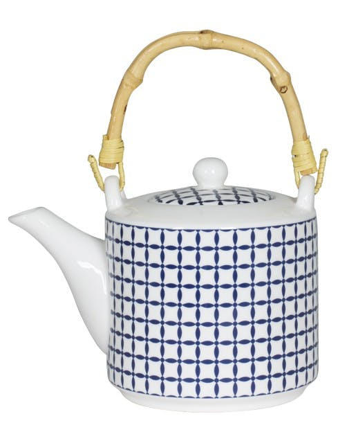 Théière décor graphique japonisant porcelaine tons bleus et anse bambou D9xH9,5cm
