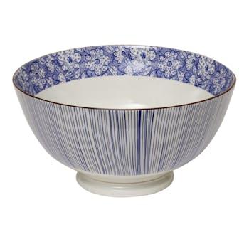 Saladier évasé décor graphique japonisant porcelaine tons bleus D27xH15cm