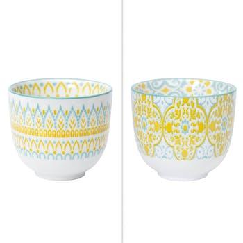 Lot de 2 gobelets décor graphique porcelaine tons jaunes et bleus D5x5,5cm