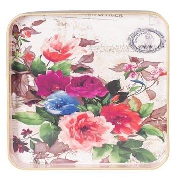 Plateau carré Botanic décor Roses 35x35cm