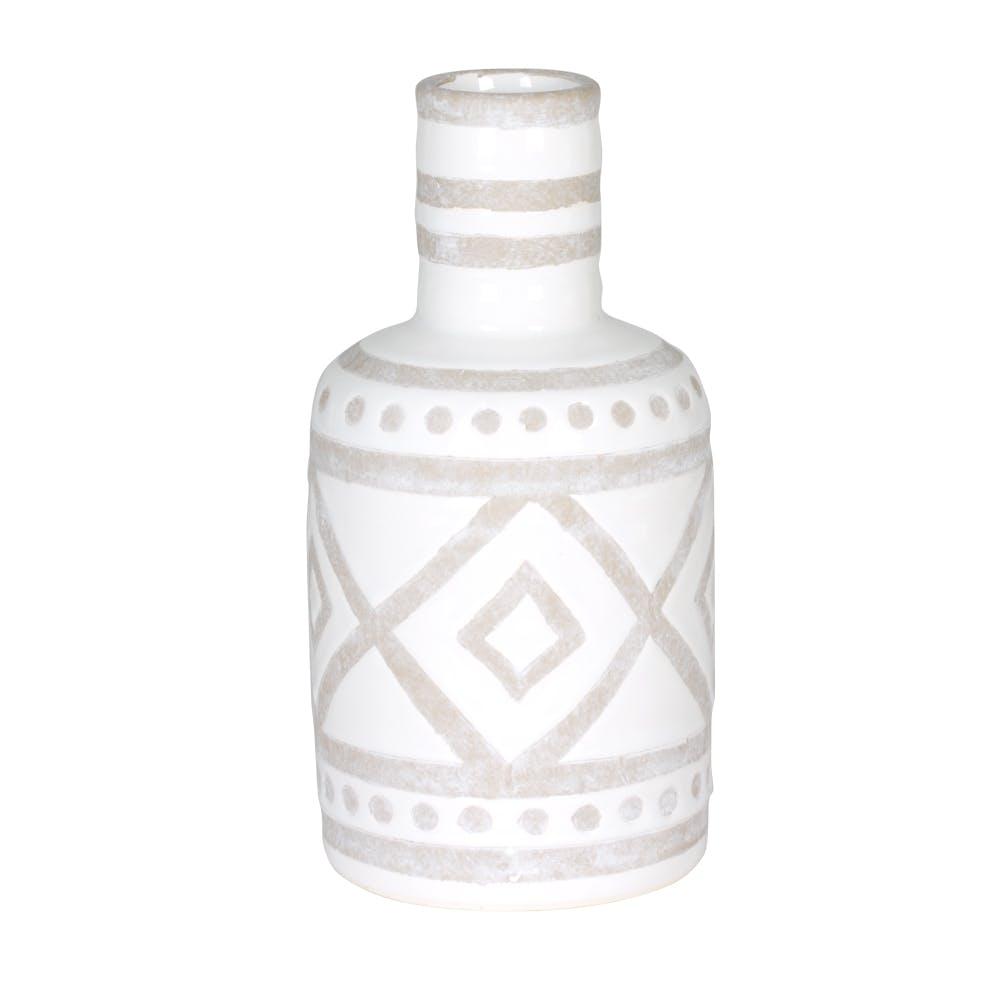 Vase décor Aztèque en faience blanche et grise D11xH22cm
