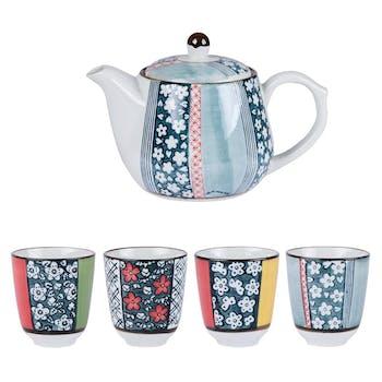 Coffret Théière + 4 Mugs gobelets Oslo Inspiration scandinave motifs fleurs et couleurs