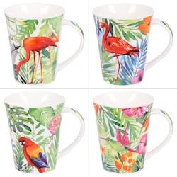 Coffret de 4 Mugs 40cl à anse Jungle colorés