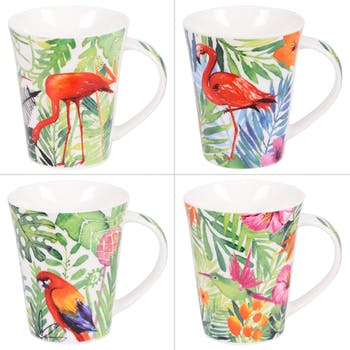 Coffret de 4 Mugs 40cl à anse Jungle colorés