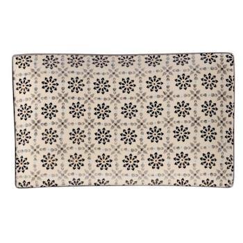 Plateau 29x17cm Nelson écru à motifs Fleurs façon Mandala tons foncés