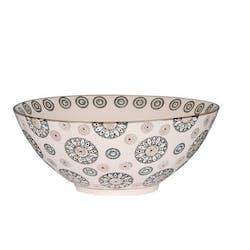 Coupe ronde D19cm Nelson écrue à motifs Fleurs façon Mandala grandes et petites