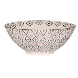 Coupe ronde D19cm Nelson écrue à motifs Triangles et points orange et bleus