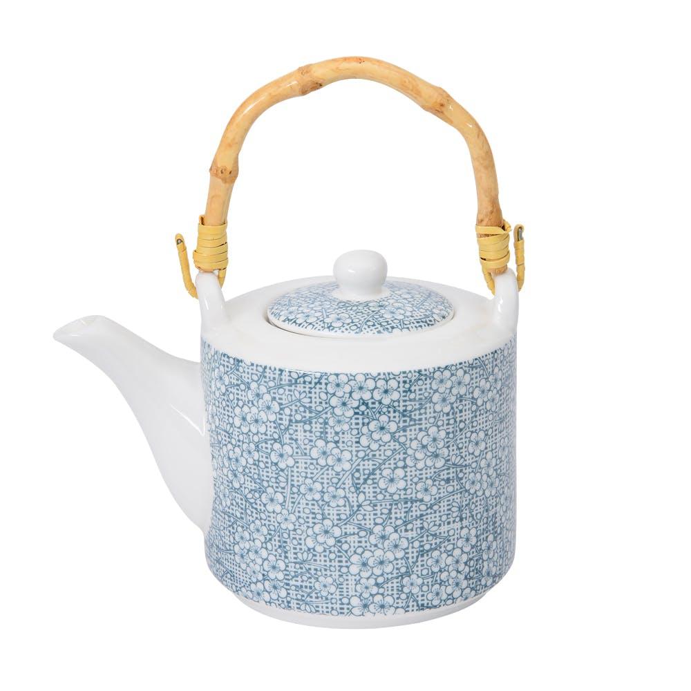 Théière 450ml Denim motifs Fleurs tons bleus jeans et filtre inox anse bambou