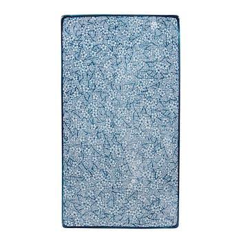 Plateau 29cm Denim motifs géométriques bleus jeans