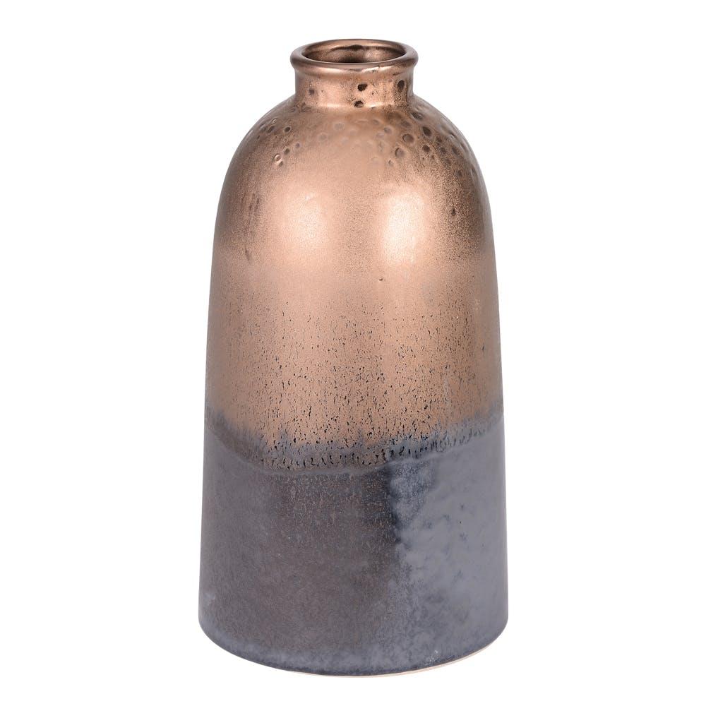 Vase bouteille Tango col étroit doré et base grisée aspect vieilli H27cm