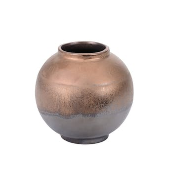 Vase Boule Tango doré et base grisée aspect vieilli H14cm