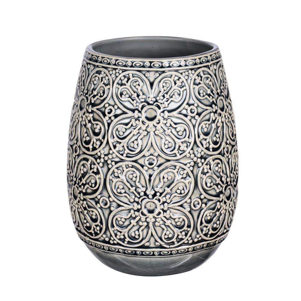 Vase Obus Angel gris motifs Fleurs H22cm